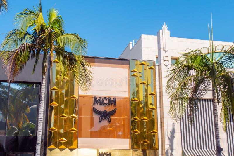 Mcm-lager på Rodeo Drive i Beverly Hills - KALIFORNIEN, USA - MARS 18, 2019 royaltyfria foton