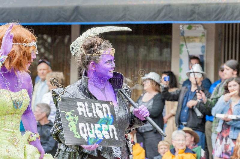 Annual UFO Festival in McMinnville Oregon. McMinnville, Oregon, USA - May 16, 2015: Alien Queen walks in the parade of the annual UFO Festival in McMinnville stock photos