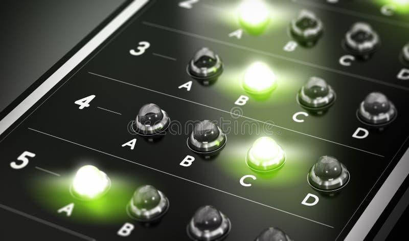 MCQ, questionnaire de choix multiple illustration stock
