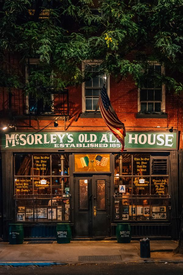 McSorley`s Old Ale House at night, in the East Village, Manhattan, New York City stock photo