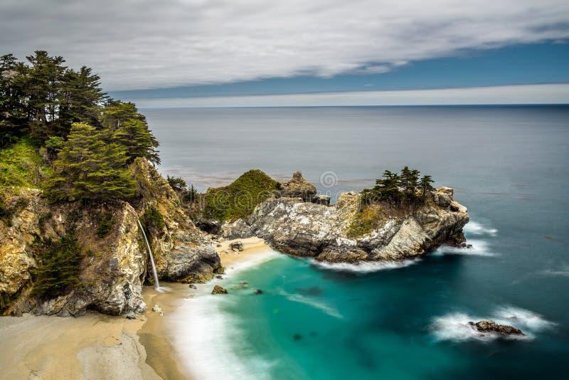 McWay cai na estrada da Costa do Pacífico, parque estadual de Big Sur, Califórnia imagens de stock