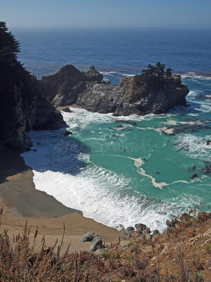 McWay Cove with McWay Falls. McWay Cove, a beach with a waterfall on the coast of Big Sur that flows from McWay Creek in Julia Pfeiffer Burns State Park directly royalty free stock photography