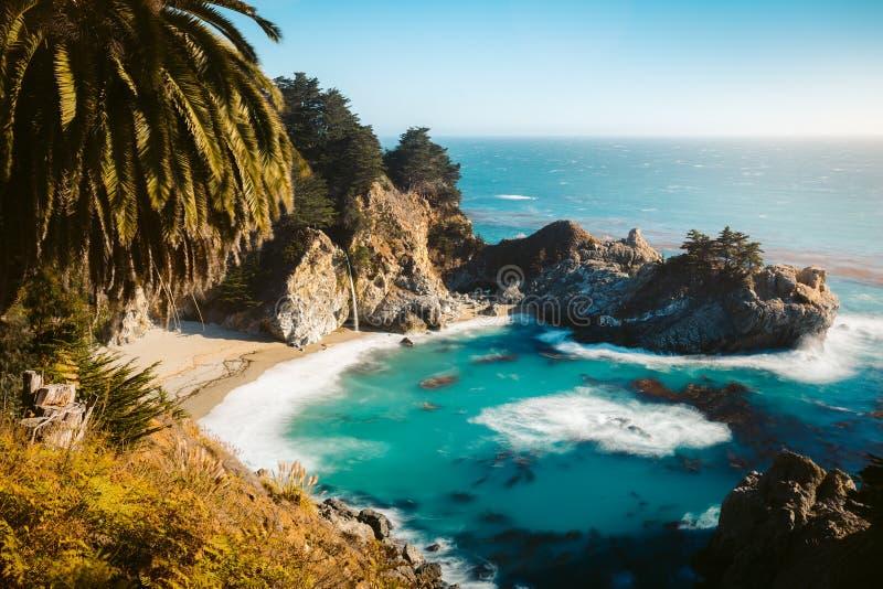 McWay faller p? solnedg?ngen, stora Sur, Kalifornien, USA royaltyfri fotografi