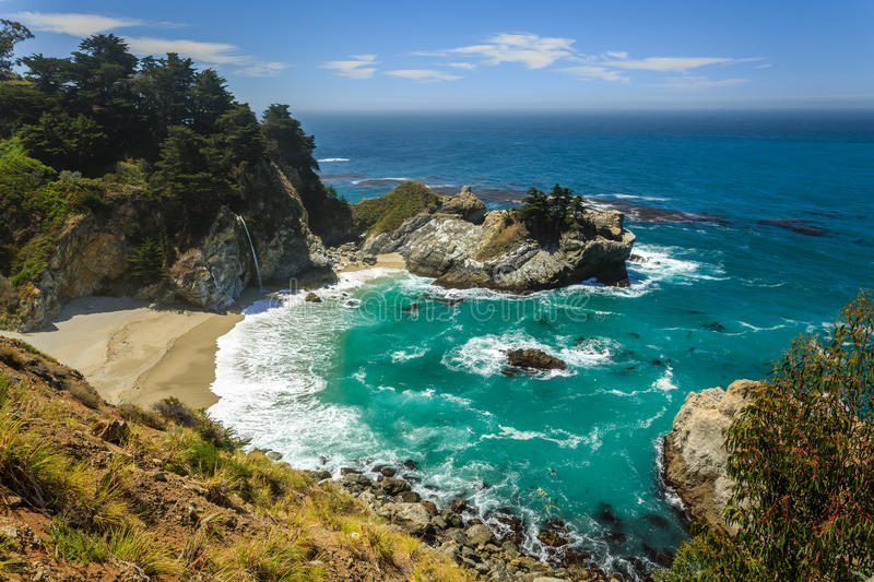 Mcway Falls beach waterfall on the Big Sur Coast of California stock image