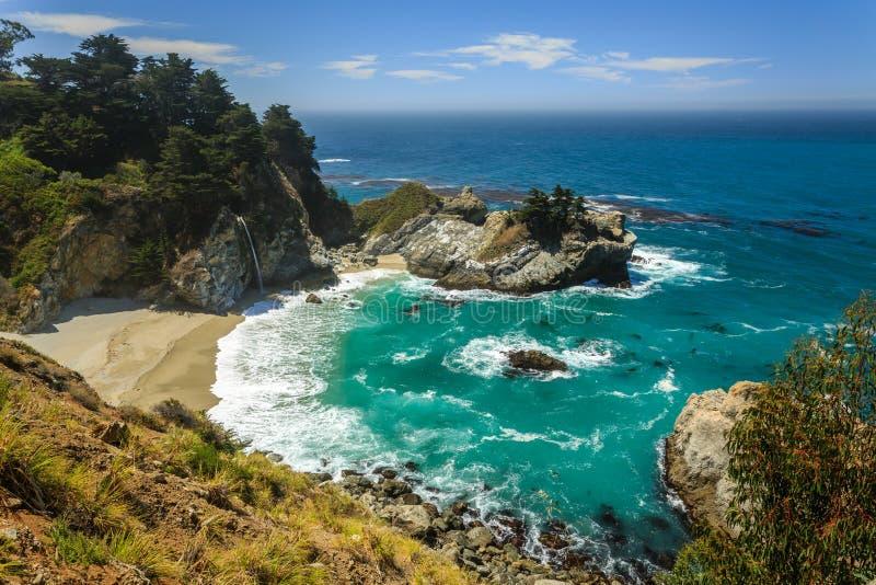 Mcway se cae cascada de la playa en la costa de Big Sur de California imagen de archivo
