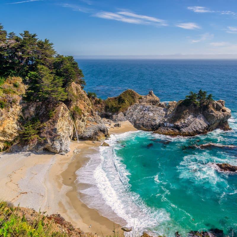 McWay spadki i plaża, Duży Sura, Kalifornia obraz stock