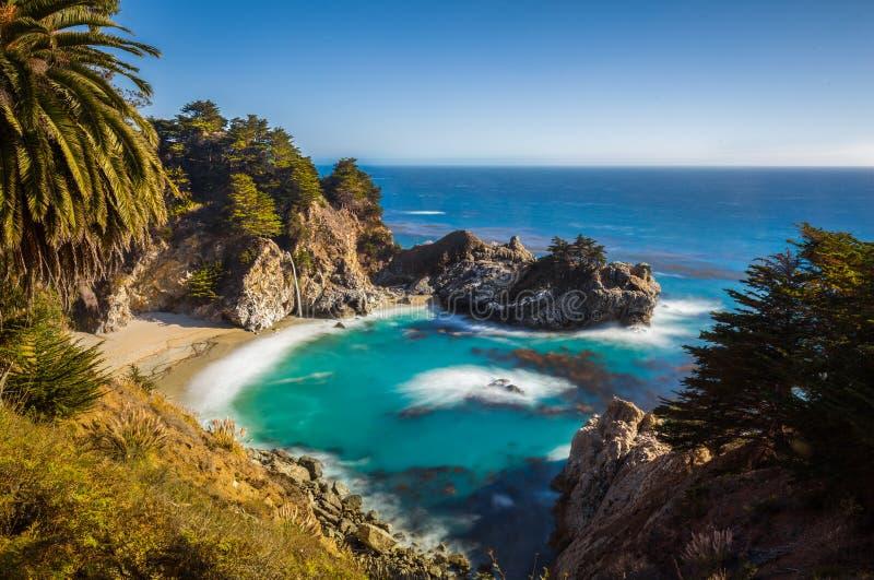 McWay tombe au coucher du soleil, Big Sur, la Californie, Etats-Unis photos libres de droits