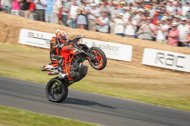Amazing Veteran MotoGP Rider Jeremy McWilliams On The KTM 1290 Super Duke Prototype  Motorcycle At The Festival Of Speed Event Held At Goodwood, UK On July 13,  2013