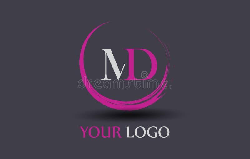 MD m. D Letter Logo Design illustrazione vettoriale