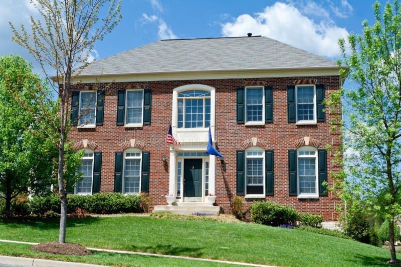 MD suburbano S.U.A. della casa unifamiliare della Camera del mattone immagine stock