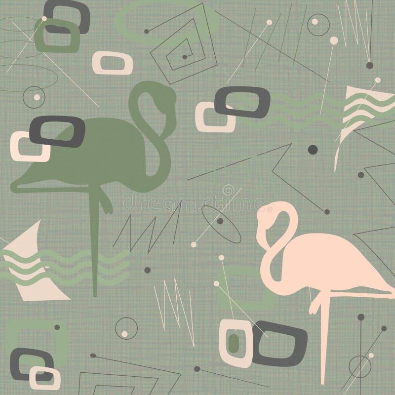 Md van de Eeuw Moderne Flamingo Stof Als achtergrond royalty-vrije illustratie