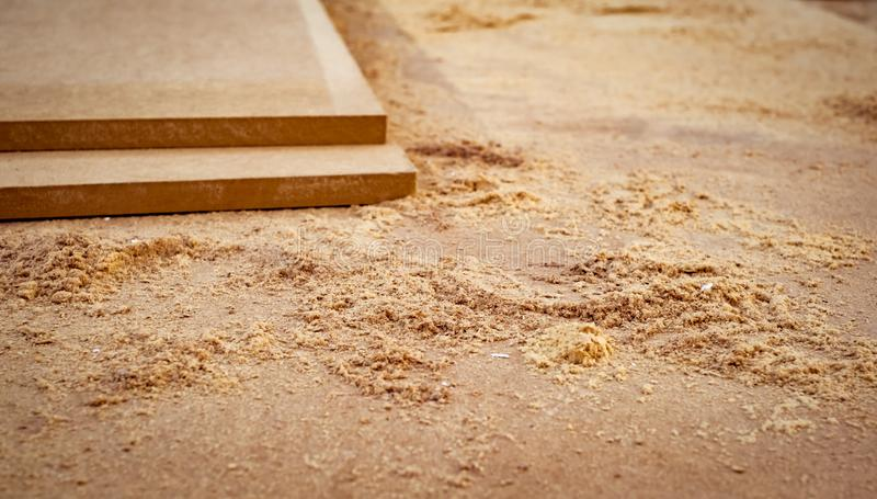 MDF chipboard with sawdust. Close view royalty free stock photos