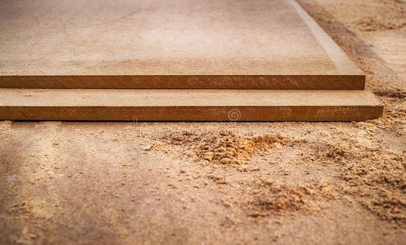 MDF chipboard with sawdust. Close view royalty free stock photo