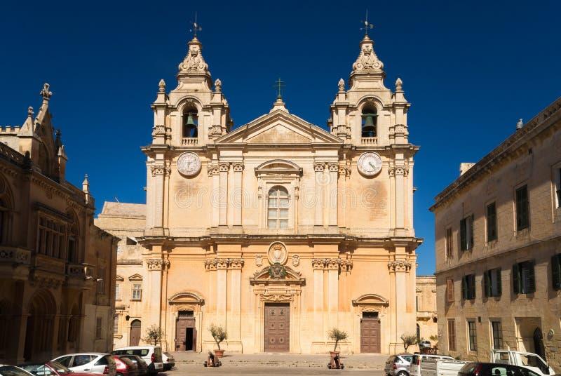 Mdina的圣保罗的大教堂 免版税图库摄影