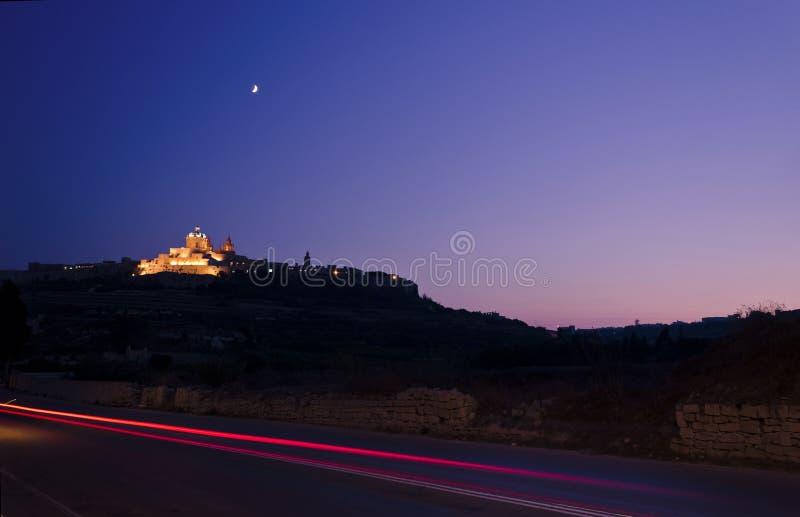 Mdina bij schemer - Malta royalty-vrije stock fotografie