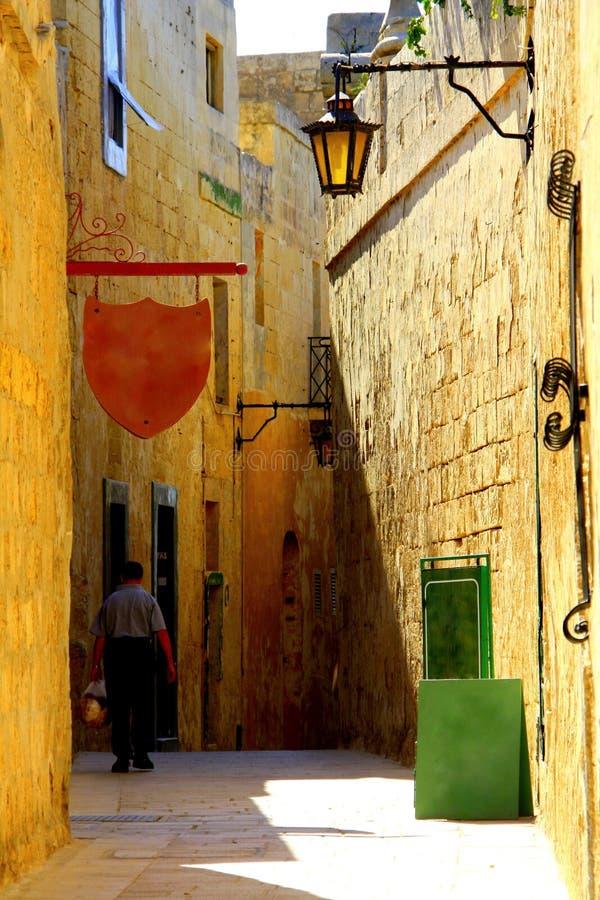 Mdina ciszy miasto Malta, uliczny widok stare miasto fotografia royalty free