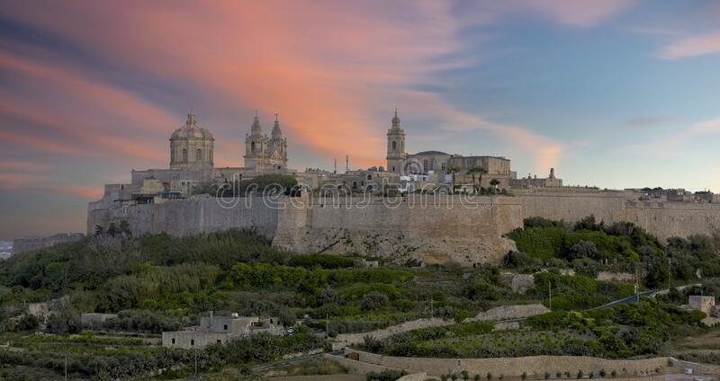 Mdina at Dusk stock photos