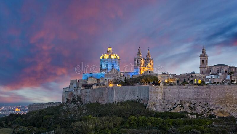 Mdina at Dusk royalty free stock images