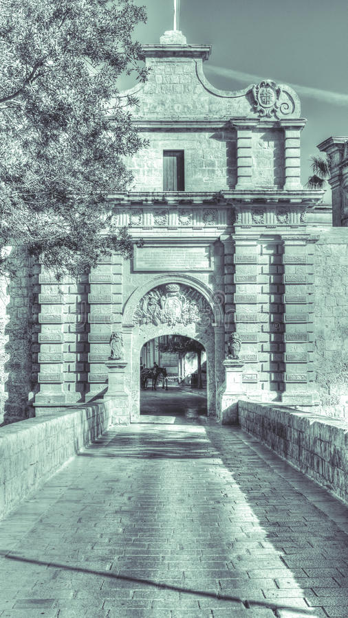 Mdina Gate HDR black and white photography split toning Malta. Malta - 14 Jan 2016: Mdina Gate HDR black and white photography split toning Malta stock photos
