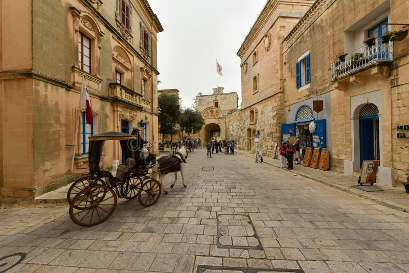 Mdina Malta, gatasikt royaltyfria bilder