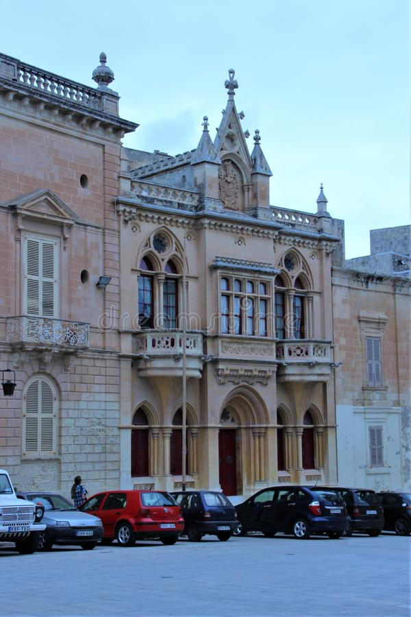 Mdina Malta, Juli 2014 Medeltida härliga byggnader i den barocka staden royaltyfri fotografi