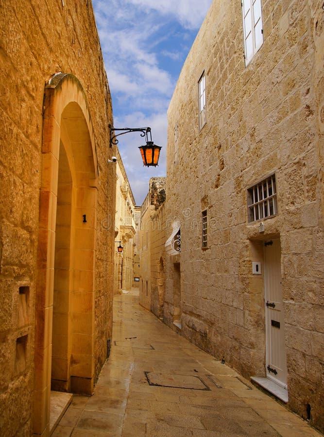 Mdina - medeltida walled stad i Malta arkivfoto