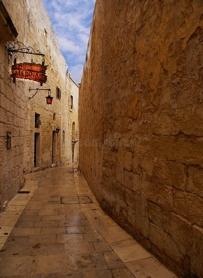 Mdina - middeleeuwse ommuurde stad in Malta royalty-vrije stock afbeelding