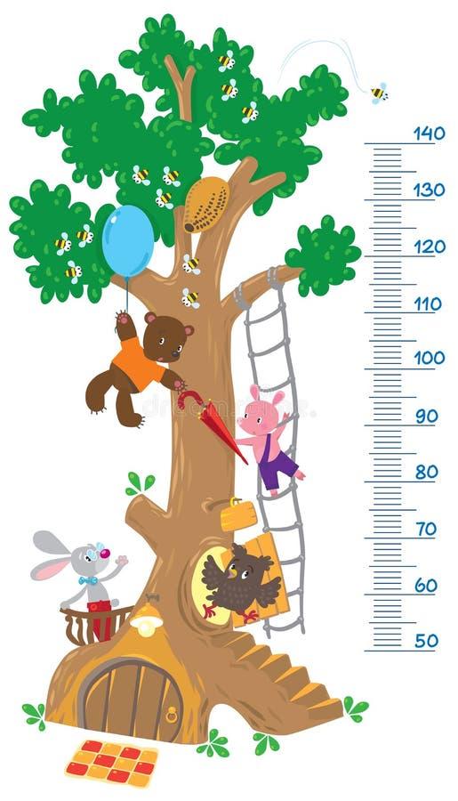 Meça a parede com árvore grande e os animais engraçados ilustração do vetor