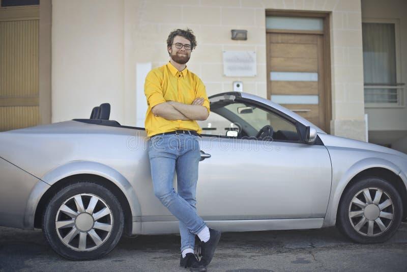 Me en mijn auto royalty-vrije stock afbeeldingen