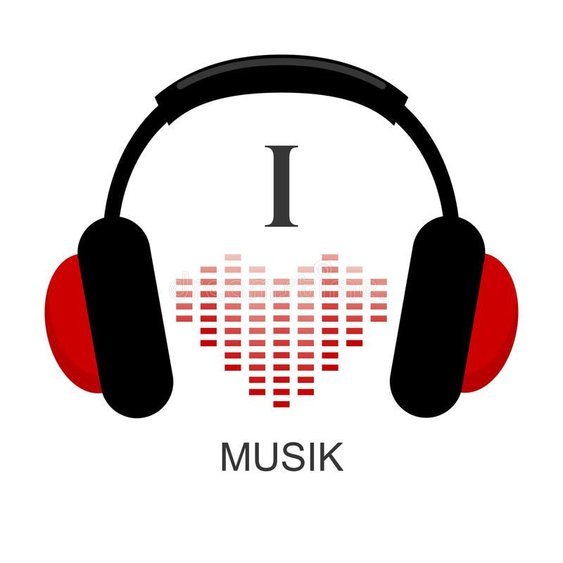 Me gusta el musik Auriculares y onda acústica en corazón de la forma equalizador stock de ilustración