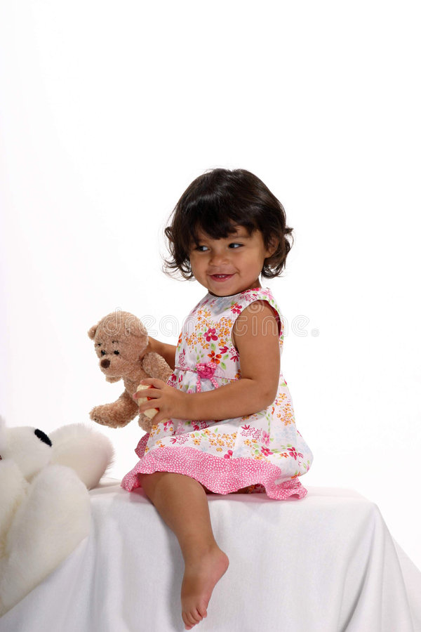 Me and my bears. Cute toddler girl playing with her stuffed animal bears stock photos