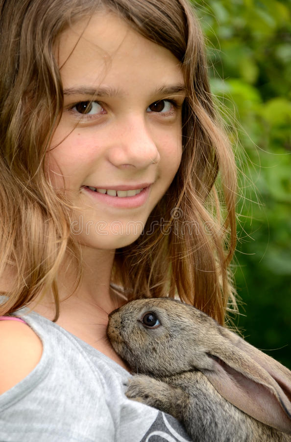 Download Me and my rabbit stock image. Image of bunny, curly, happy - 20652255