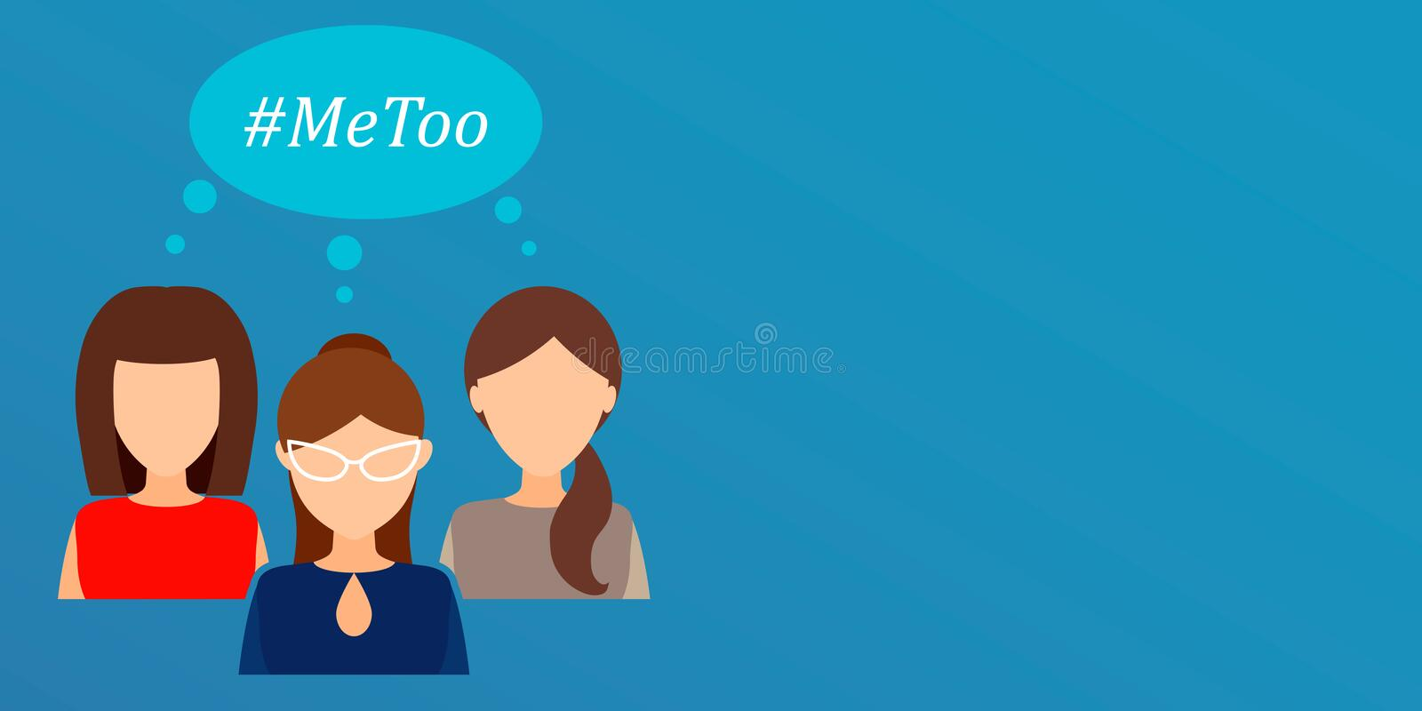 Me too, women`s movement against sexual assault and harassment. Vector. Hashtag Me Too, women`s movement against sexual assault and harassment. Vector flat royalty free illustration