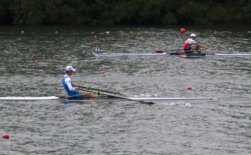 Meadlists in Lightweight Men's Single Sculls, European Rowing C royalty free stock photo