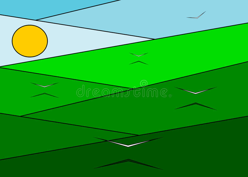 Meadow and birds. A green meadow and the flying white birds against the blue sky and the sun vector illustration