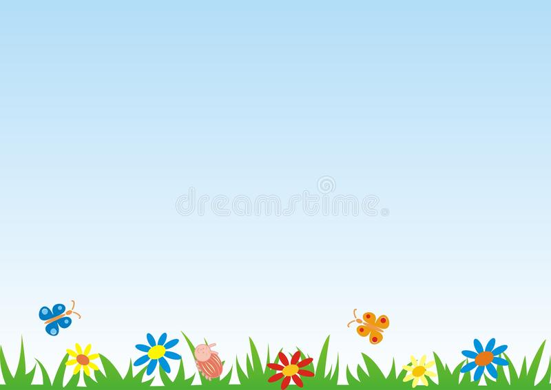 Meadow, butterflies, flowers and beetles, vector background. Abstract postcard, concept. Colored illustration, happy picture. vector illustration