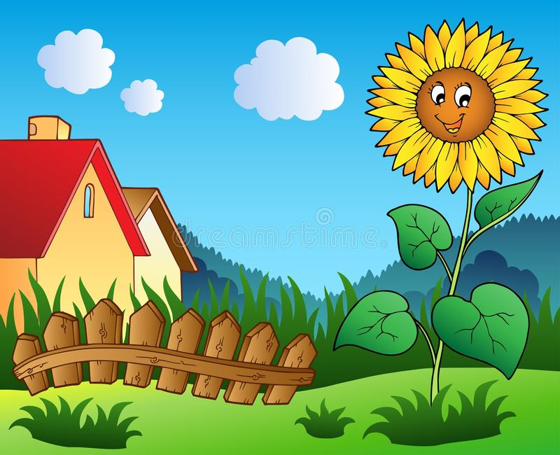 Meadow With Cartoon Sunflower Royalty Free Stock Photography