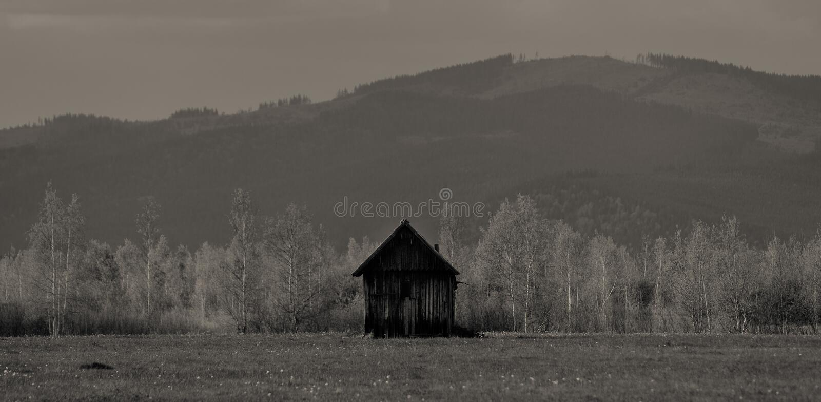 Meadow and chalets against the background of the mountains. stock image