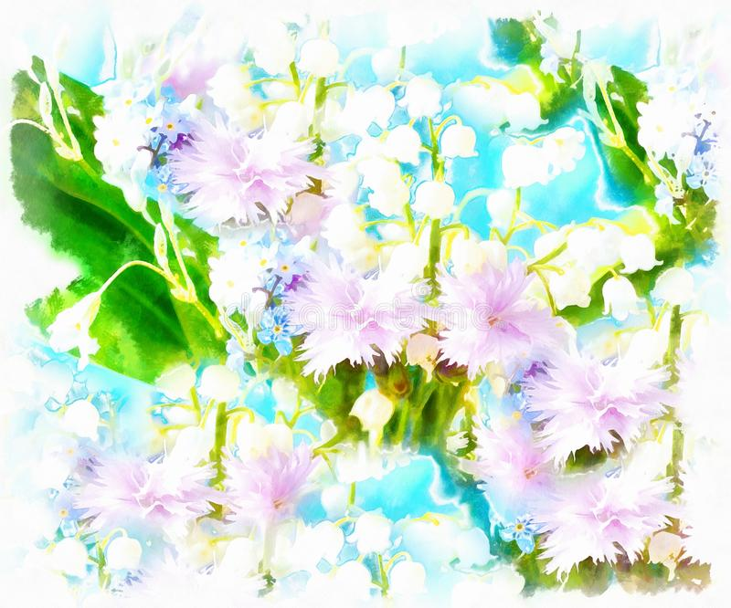 Meadow flower. computer aquarelle painting collage. vector illustration