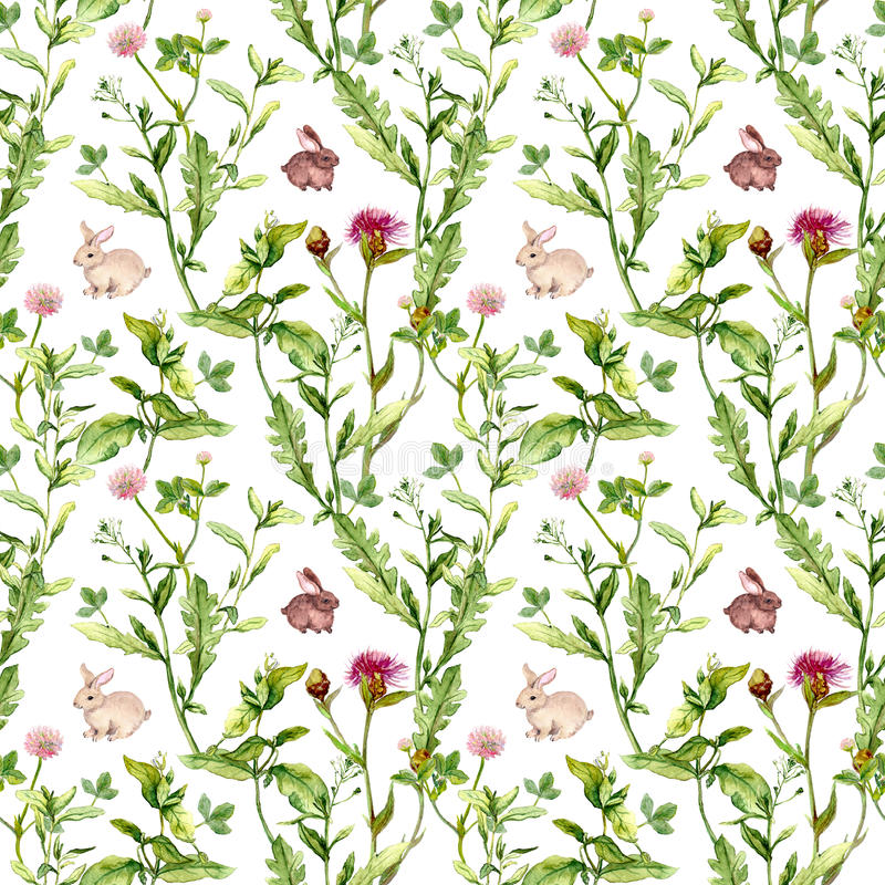 Meadow flowers, tiny rabbits. Seamless pattern. Watercolor royalty free stock photos