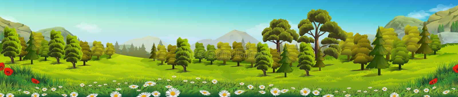 Meadow and forest nature landscape. Meadow and forest, nature landscape, vector background stock illustration