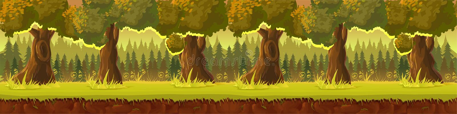 Meadow and forest, nature landscape, vector background royalty free illustration