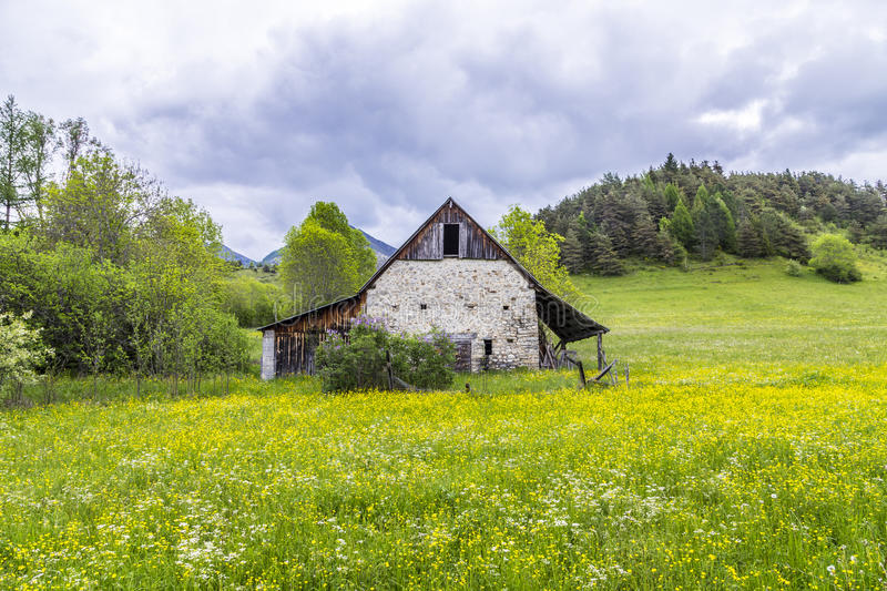 Meadow with hut near le Vernet at col Mirabeau. Green meadow with hut near le Vernet at col Mirabeau royalty free stock photo