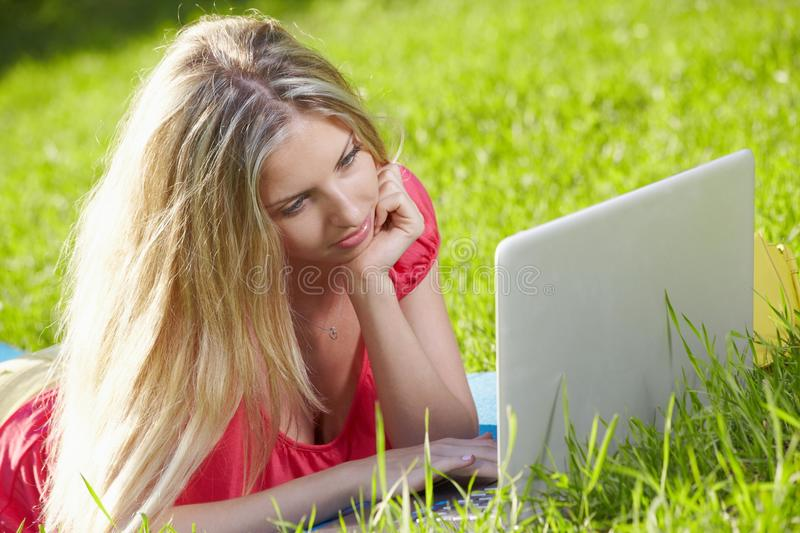 On the meadow with laptop