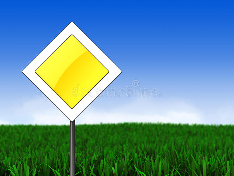 Download Meadow and main road sign stock illustration. Illustration of priority - 33859740