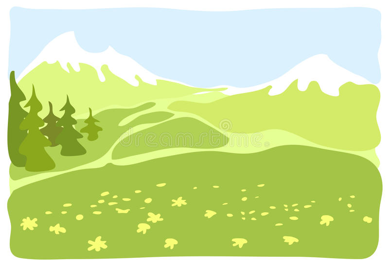 Download Meadow In A Mountain Valley. Stock Vector - Image: 27708501