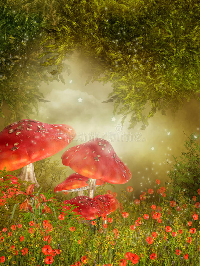 Meadow with mushroom vector illustration