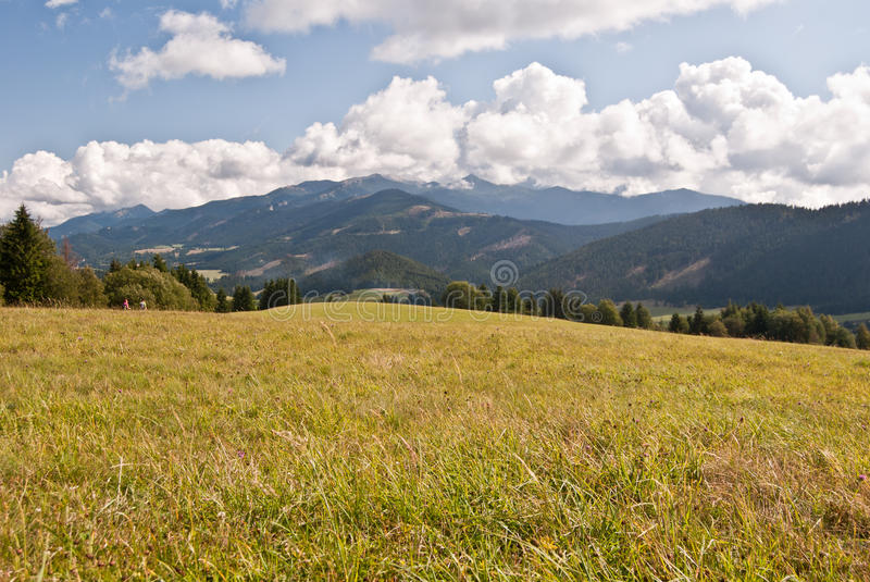 Meadow with panorama of Tatry mountains. Meadow with Tatry mountains panorama on Priekova pass in Skorusinske vrchy mountains above Zuberec stock photo
