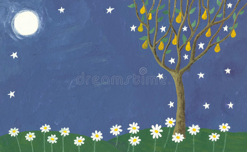 Meadow and pear tree in the night stock illustration