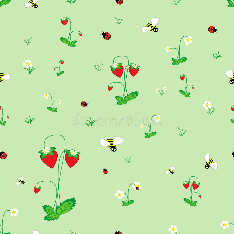 Meadow seamless pattern. Strawberry meadow seamless pattern. Forest background for kids. Print for children stock illustration